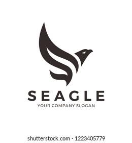 Eagle, falcon, bird logo design with letter S