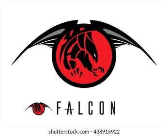 Eagle. Falcon.  Unique design of attacking falcon. chasing falcon with the extreme claw  attacking black falcon with sharp big claw on the winged red circle tribal.