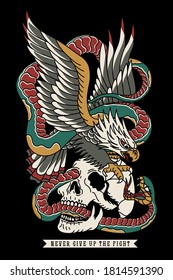 Eagle Fighting with Snake on a Skull Traditional Tattoo Style Illustration Print for Apparel and Other Uses