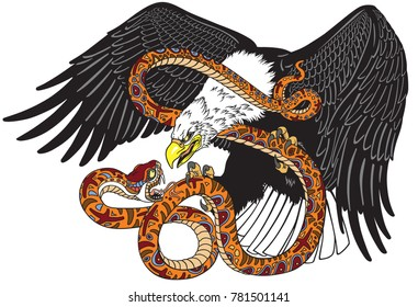 eagle fighting a snake serpent . Tattoo style vector illustration