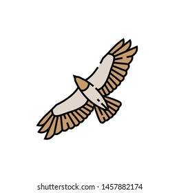 Eagle flight line icon. Hawk symbol. Bird of prey wingspan sign. Vector illustration.