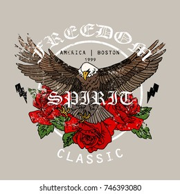 Eagle with flowers. Freedom spirit classsic slogan. Typography graphic print, fashion drawing for t-shirts .Vector stickers,print, patches vintage rock style