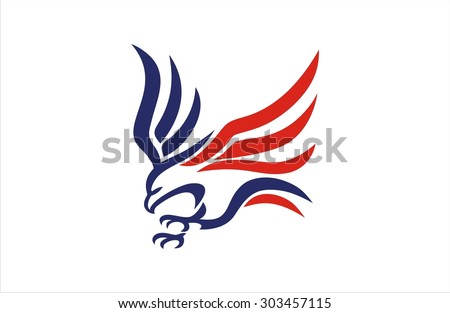 Eagle Fly American Flag Stock Vector Royalty Free 303457115
