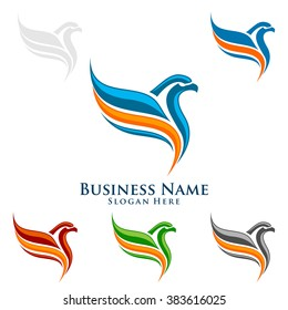 eagle fly with colorful line , vector eagle logo design