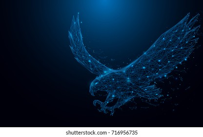 eagle fly landing from lines and rectangles, point connecting network on blue background. Illustration vector