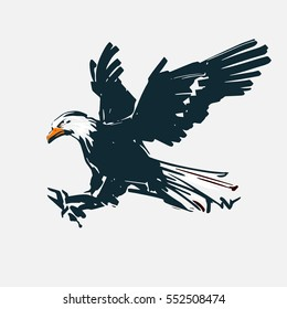 eagle fly, for logo, sketch style, silhouette, simple vector illustration