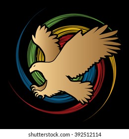 Eagle flying attack designed on spin wheel background graphic vector.