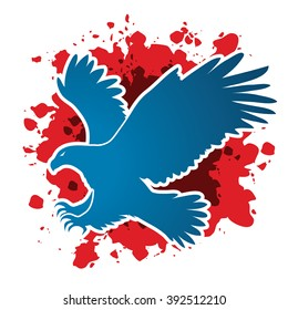 Eagle flying attack designed on grunge blood background graphic vector.