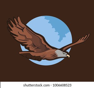 eagle flying in front of the moon in brown background