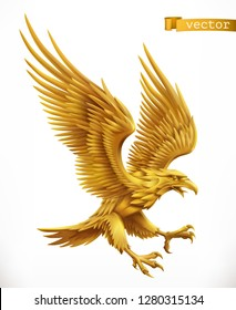 Eagle, gold emblem. 3d vector icon