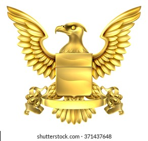 A eagle gold metal shield heraldic heraldry coat of arms design with a banner scroll.