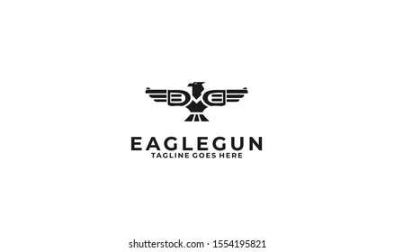 Eagle gun logo design for your projects