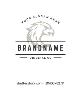 Eagle hand drawn logo isolated on white background vector illustration for labels, badges, t-shirt and other design.