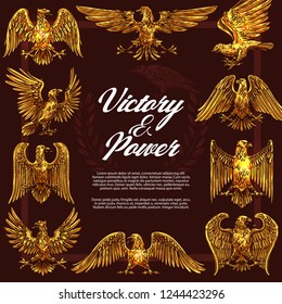 Eagle or hawk as heraldic symbol of victory and power in frame. Golden vector mascot and legendary beast or creature symbolizing strength and nobility. Mythical birds with golden plumage