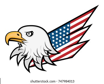Eagle Head and America Flag Wings logo vector