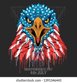 EAGLE HEAD AMERICA USA FLAG INDEPENDANCE DAE, VETERANS DAY ET MEMORIAL DAY ÉLÉMENT VECTORIEL