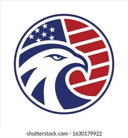 Eagle Head circle american flag logo vector