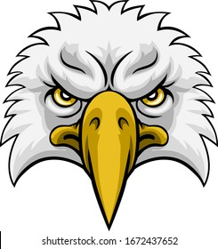 An eagle head face cartoon character mascot illustration