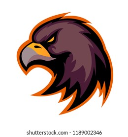 Eagle head icon vector. Eagle head with dark orange border isolated on white background. Animal bird symbol of power and speed.