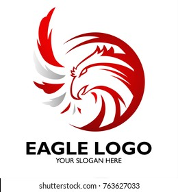Eagle head logo circle for news anchor reporter or finance department