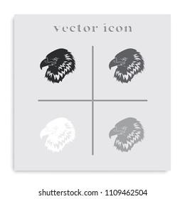Eagle head logo flat black and white vector icon.