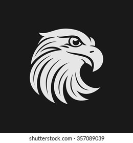 Eagle head logo or icon in one color. Stock vector illustration.