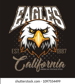 Eagle head logo for t-shirt, Hawk mascot Sport wear typography emblem graphic, athletic apparel stamp.