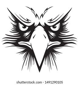 Eagle head logo for t-shirt, Hawk mascot Sport wear , emblem graphic, athletic apparel stamp.vector illustration