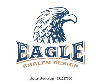 Eagle head logo - vector illustration, emblem design on white background
