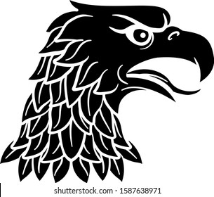 Eagle head Roman, German, Amercan or Russian heraldic symbol or team sports mascot