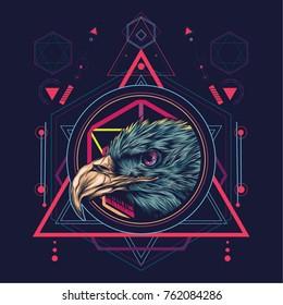 Eagle head in sacred geometric style