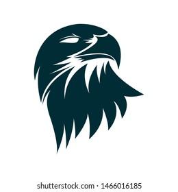 Eagle head silhouette illustration. Eagle head logo design. Eagle minimalist icon design