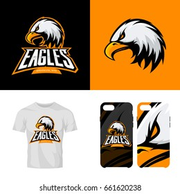 Eagle head sport club isolated vector logo concept. Modern professional team badge mascot design. Premium quality wild bird t-shirt tee print illustration. Smart phone case accessory emblem.