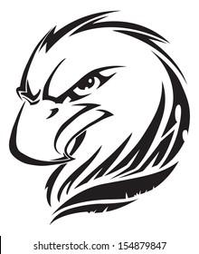 Eagle head tattoo design, vintage engraved illustration.