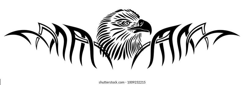 Eagle head with tattoo tribal ornament.