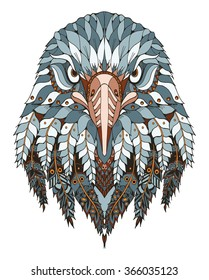 Eagle head zentangle stylized, vector, illustration, freehand pencil, hand drawn, pattern. Zen art. Ornate vector. Lace. Color.