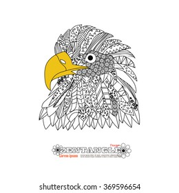 Eagle head zentangle stylized.freehand pencil. hand drawn. Zen art. Ornate vector.  Coloring.vector illustration.