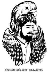 Eagle helmet with hipster man tattoo.Neo Traditional Tattoo style ,Man with the mask of a Eagle tattoo,Native American man with Eagle helmet Lineart old school tattoo