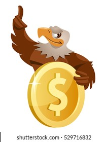 Eagle holds dollar symbol. Cartoon styled vector illustration.  Elements is grouped and divided into layers.