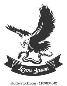 Eagle holds snake in a claws and ribbon for your text drawn in engraving style. Vector illustration