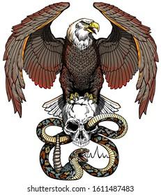Eagle, human skull and snake. Tattoo vector illustration