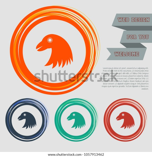 Eagle Icon On Red Blue Green Stock Vector (Royalty Free