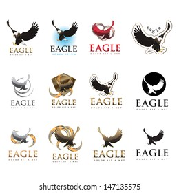 Eagle Icons Set - Isolated On White Background - Vector Illustration, Graphic Design Editable For Your Design. Eagle Logo