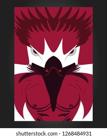 Eagle illustration claret red , eagle poster , angry eagle , eagle fitnes