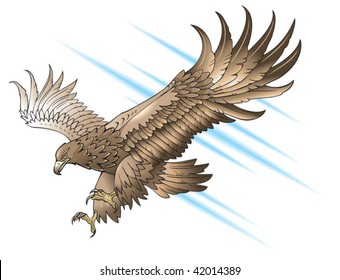 Eagle with large wings, swooping or attacking, gradient fill, vector illustration