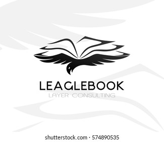 Eagle with lawbook. Law firm logo template. Concept for legal firms, notary offices or justice companies