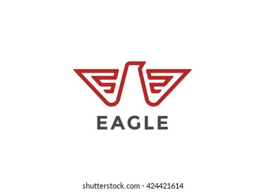Eagle Logo abstract design vector template Linear style. Bird Falcon Hawk Luxury Logotype concept icon Geometric Heraldic style.