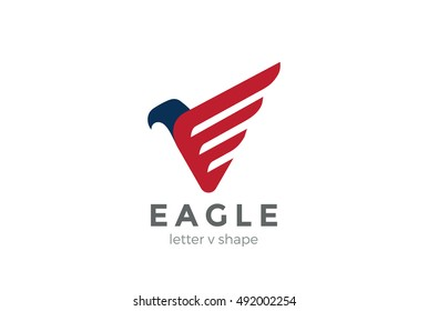 Eagle Logo abstract design vector template letter V. Falcon Hawk bird stylish Logotype concept icon