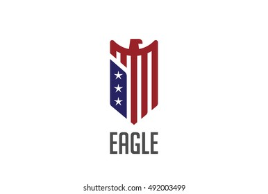 Eagle Logo abstract design vector template Shield shape. Falcon Hawk bird protect defense Logotype USA concept icon