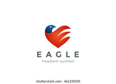 Eagle Logo abstract Heart shape. Vector design template. Falcon Hawk bird concept icon